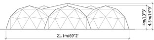 elevation of multi-pen dome